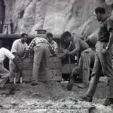 Trabajadores en la Construccion de La presa de Santa Rosa en el Mpio de Amatitan Jalisco en 1962.