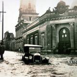 Calle de Iturbide en La Inundacion acaecida el dia 23 de Junio de 1926 Leon Guanajuato.