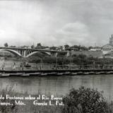 Puente de Pontones sobre el Rio Bravo ( Circulada el 15 de Agosto de 1956 )