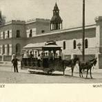 Tranvía de mulas frente a la Penitenciaría de Monterrey