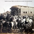 Llegada de Francisco I Madero a una estacion feroviaria durante La Revolución Mexicana.